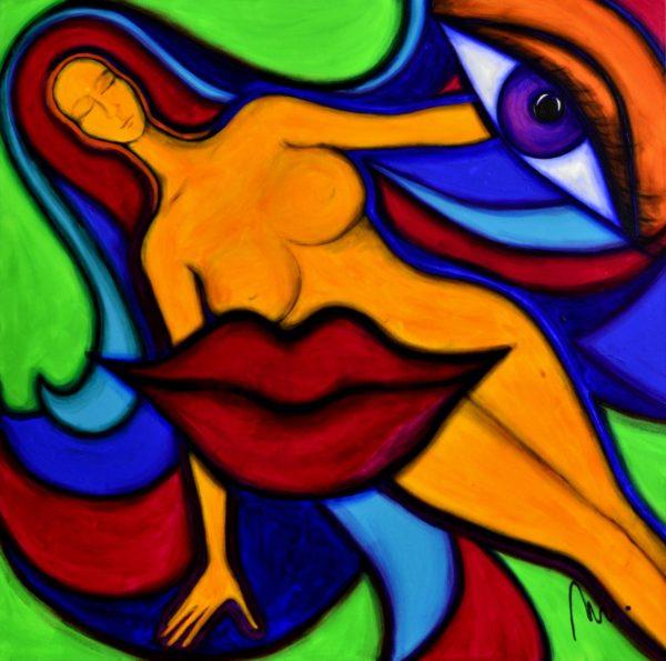 25 - Bohyně komunikace - akryl na plátně - 100 x 100 cm - r. 2014