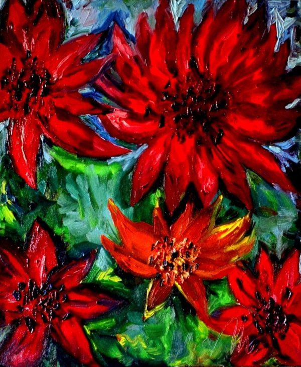 35 - Velké květy - olej na plátně - 60 x 50 cm - r. 2007