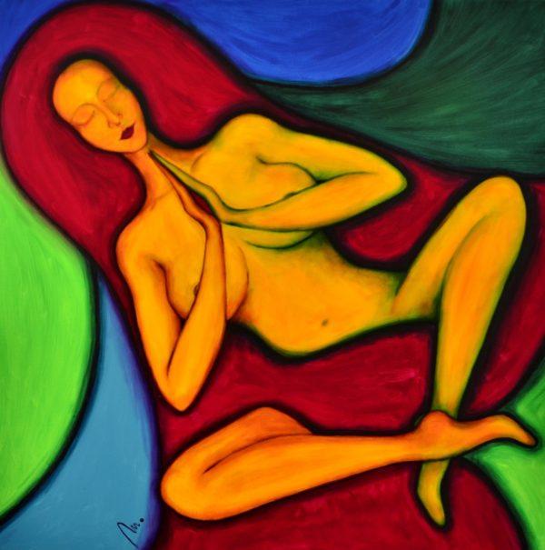 10 - Bohyně meditace - Kundaliní - akryl na plátně- 100 x 100 cm - r. 2014