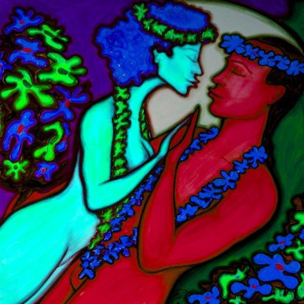 Jana a Tom - láska - akryl na plátně - 100 x 100 cm - r. 2015